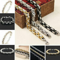 Unisex's Men Byzantine Box Chain Link Stainless Steel Wristband Bracelet Bangle
