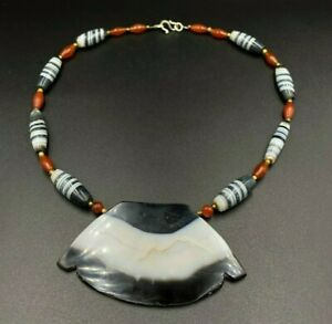 Antique Banded Agate Carnelian Beads Mala from Burma south east Asia