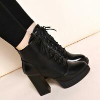 Womens Lace Up Chunky High Heel Ankle Boots Platform Pointed Toe Casual Shoes