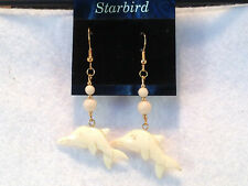 WHITE BONE DANGLE  DOLPHIN EARRINGS  80'