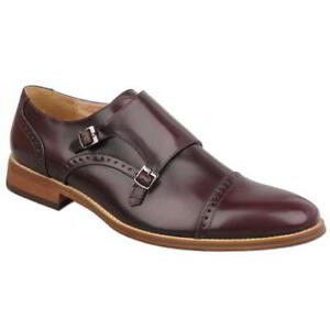 Mens Goor Twin Buckle Monk Shoes Oxblood Leather Lined Sizes 7-12