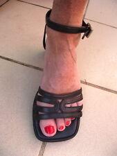 sandales escarpins MOSQUITOS  ptits talons p 36 TB ETAT cuir noir PROMO