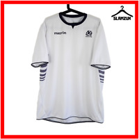Macron Scotland Rugby Shirt L Large Official Jersey Top White Short Sleeves Away