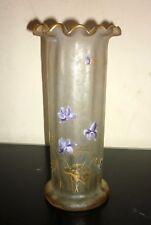 vase François Théodore LEGRAS  XIXème décor violette émaillé , dégagé à l'acide