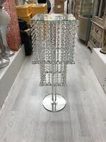 75 Silver Mirrored Side Table Modern Glass Stand Bed Side Crystal Romany