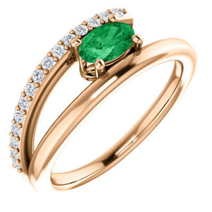 Chatham Created Emerald & 1/8 CTW Diamond Bypass Ring In 14K Rose Gold