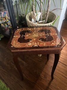 Vintage Italian Inlaid Marquetry Wood Music Box Sewing Side Table The Godfather
