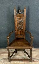 Rare fauteuil cathèdre Renaissance gothique en bois naturel