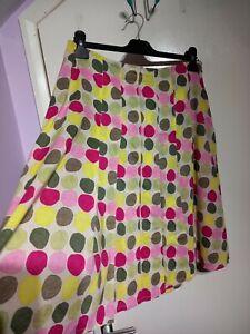 White Stuff Bright Spotty Skirt Size 10 UK Pink Yellow Green 100% Cotton Lined
