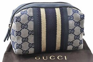 Authentic GUCCI Pouch GG Canvas Leather Navy Blue C4372