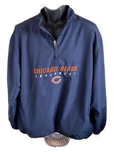 CHICAGO BEARS NFL EQUIPMENT REEBOK Pullover / Windbreaker / Jacket ~ Sz L Blue
