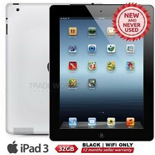 "New APPLE iPad 3 3rd Gen Black 32GB WiFi Only 9.7"" Retina Screen Tablet"