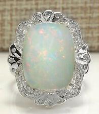 8.95 Carat Natural Opal 18K White Gold Diamond Ring
