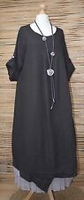 LAGENLOOK OVERSIZED LINEN ASYMMETRICAL A-LINE LONG DRESS**BLACK**BUST UP TO 50""