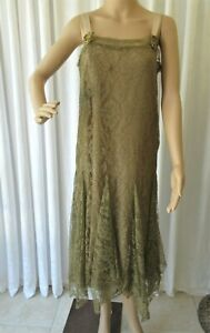 EXQUISITE ANTIQUE FRENCH LACE 1920's FLAPPER DRESS ..RIBBON WORK ROSES..MED