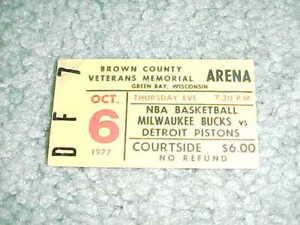 1977 Milwaukee Bucks v Detroit Pistons Preseason Basketball Ticket Green Bay
