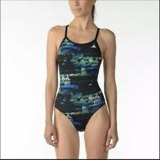 New Adidas Women's Elemental Raw Vortex Back One Piece Swimsuit Size 40