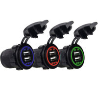 Universal Twin Dual Double Port 2 USB 12V In Car Charger with LED Socket Lighter