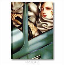 Tamara de Lempicka Autoritratto in Bugatti verde QUADRO 50x70 STAMPA TELA AUTO