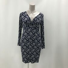 Pepperberry Curvy Woman Floral Dress UK 14 Blue Print Long Sleeve Stretch 291118