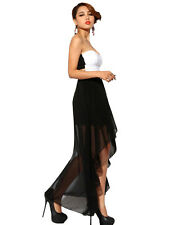 Women's Summer Tube Strapless High Low Party Evening Dress Black/White