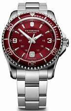 New! Victorinox Swiss Army Maverick GS Red Dial Men's Steel Watch 241604
