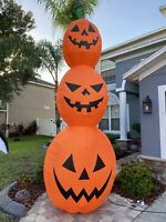 Halloween Gemmy 12 ft Giant Orange Pumpkin Stack Jack o Lantern Inflatable NEW