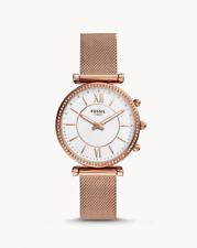 Fossil Carlie Hybrid Rose Gold Mesh Stainless Steel Smartwatch FTW5060