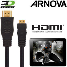 ARNOVA 7, 10, G3 Android Tablet PC HDMI Mini to HDMI TV 3m Gold Cable Kabel Cavo
