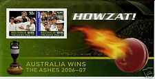 AUSTRALIA 2007 AUSTRALIA WINS ASHES HOJA MINIATURA BIEN UTILIZADO