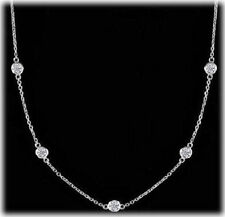 1.29 carat, Round Diamond By The Yard Necklace 14k White Gold 7 x 0.19 ct each