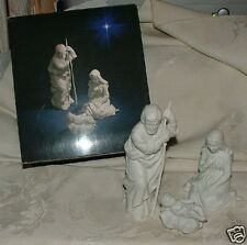 1981 Avon Nativity 3pc Holy Family BISQUE Nativity w/ Box