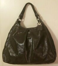 COACH Madison Maggie XL Graphite Gray Patent Leather Hobo Shoulder Bag 3 Sectios