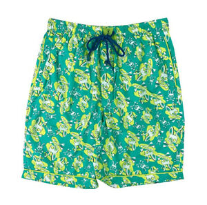 Psycho Bunny Men's Green All Over Bunny Woven Jam Lounge Shorts