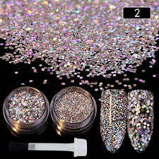 Nail Art Sequins Glitter Powder Silver Paillette with Brush Manicure Decor DIY