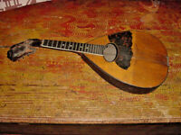 VINTAGE MANDOLIN FOR PARTS TAILPIECE TUNERS AND BACK PLATE AND  FRETBOARD