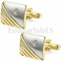 Mens Vintage Shirt Gold Tone Square Cufflinks With Rhinestone Wedding Party Gift