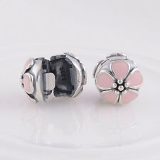 1PC Charm Flower Clip Clasp Antique Silver Plated Beads DIY Bracelet Making CN