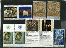 UNITED NATIONS NEW YORK PAINTINGS SMALL COLLECTION SET OF 9 STAMPS MNH