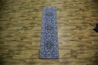 """Hand-tufted Floral Blue Runner 3x10 Kaashaan Agra Oriental Wool Rug 9' 6""""x 2' 6"""""""