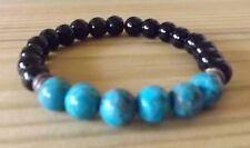 African Turquoise Black Onyx 8mm Gemstone Beads Healing Bracelet Mala Stretch