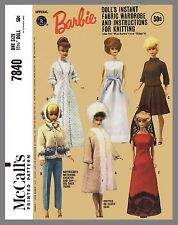 Vintage McCall's Barbie Doll Clothes Fabric Sewing Knitting Pattern #7840