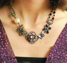 Jewelry Retro Pendant Betsey Johnson Rhinestone butterfly Flower pearl necklace