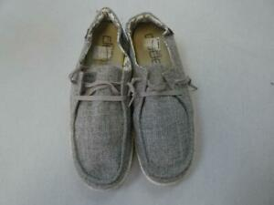 HEY DUDE WENDY L LINEN IRON WOMEN'S SHOES sz 11 as is