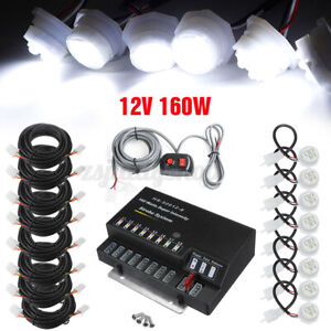 160W 8 LED Hide-A-Way White Bulb Emergency Warning Strobe Light Kit System