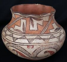 Vintage 1930's Acoma Indian Pueblo Pottery Polychrome Bulbous Jar W/ Fluted Rim
