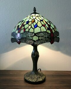 Tiffany Style Table Lamp  Green Stained Glass Dragonfly Antique Vintage W12*H19