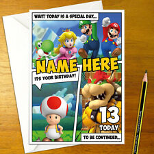 MARIO Personalised Birthday Card - nintendo personalized peach bowser toad yoshi