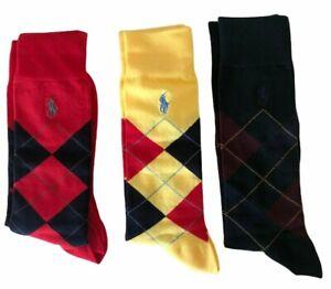 Polo Ralph Lauren Dress Casual Argyle Socks Gift Box set 3 pairs