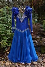 $1500 Smooth (Waltz Tango Swing Foxtrot) Ballroom Dance Gown 2-Tone Blue Jeweled